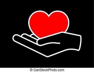 Heart in hand. Giving heart logo template for charity, health, voluntary, nonprofit organization, vector