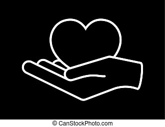 Heart in hand. Giving heart logo template for charity, health, voluntary, nonprofit organization, isolated on white background, vector