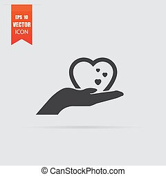 Heart in hand icon in flat style isolated on grey background.