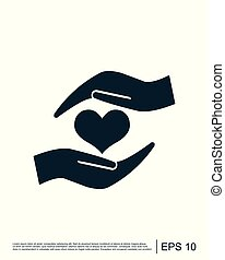 Heart in hand sign icon vector logo template