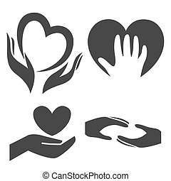 Heart in hand symbol, sign, icon, logo template for charity, health, voluntary, non profit organization, isolated on white background.