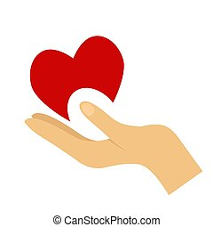 Heart in hand symbol, sign, icon, logo template for charity, health, voluntary, non profit organization.