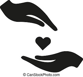 Heart in hand vector icon. Black illustration isolated on white background for graphic and web design. Health insurance icon
