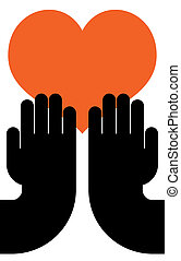 heart in hands - illustration of human hands with heart in...