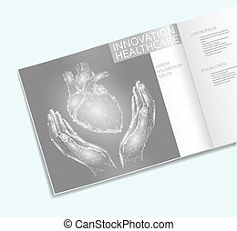 Heart in hands healthcare brochure low poly template. Polygonal point line triangle design. Human health medicine cure business concept charity donations vector illustration
