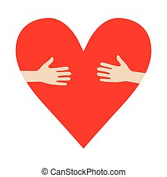 Heart In Hands hug vector donation encourage illustration