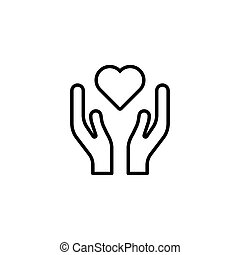 heart in hands icon on white background