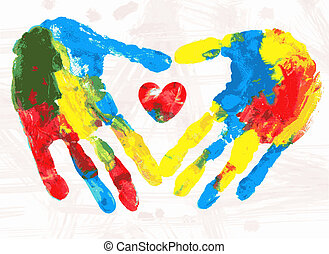 Heart in hands print, vector illustration.