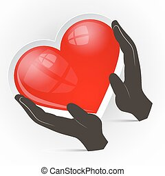 Heart in Hands Vector Illustration Isolated on White Background