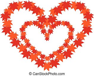 I love autumn! heart shape from falling leaves, black ...