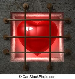 Red heart in jail behind bars
