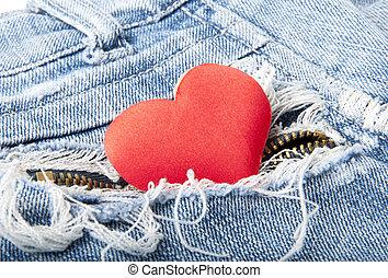 heart in jeans