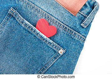 Heart in jeans pocket