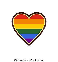Heart in LGBT color icon, flat style