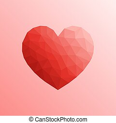 Heart in lowpoly style on bright background