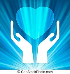 Heart in open hands. EPS 8