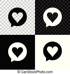 Heart in speech bubble icon isolated on black, white and transparent background. Heart shape in message bubble. Love sign. Valentines day symbol. Vector Illustration