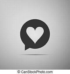 Heart in speech bubble icon isolated on grey background. Heart shape in message bubble. Love sign. Valentines day symbol. Flat design. Vector Illustration