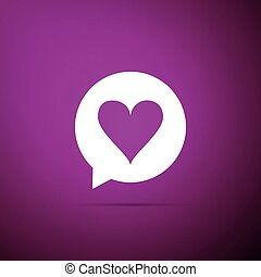 Heart in speech bubble icon isolated on purple background. Heart shape in message bubble. Love sign. Valentines day symbol. Flat design. Vector Illustration