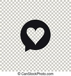 Heart in speech bubble icon isolated on transparent background. Heart shape in message bubble. Love sign. Valentines day symbol. Flat design. Vector Illustration