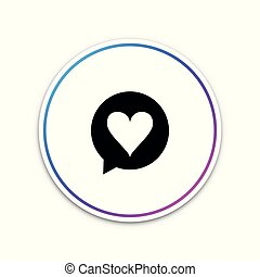 Heart in speech bubble icon isolated on white background. Heart shape in message bubble. Love sign. Valentines day symbol. Circle white button. Vector Illustration