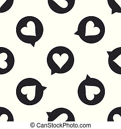 Heart in speech bubble icon seamless pattern on white background. Heart shape in message bubble. Love sign. Valentines day symbol. Flat design. Vector Illustration