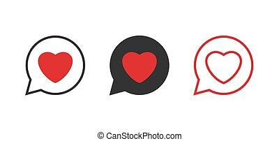 Heart in speech bubble icons