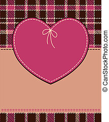 Heart in stitched textile style