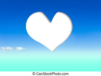 heart in the blue sky