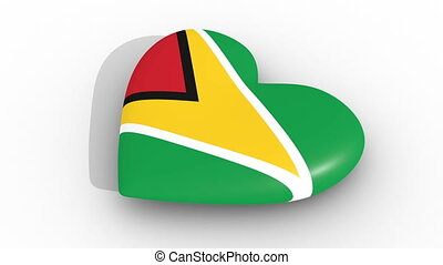 Heart in the colors of Guyana flag, on a white background, 3d rendering side