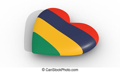 Heart in the colors of Mauritius, on a white background, 3d rendering side