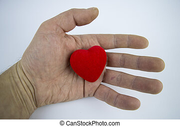 Heart in the male palm on a white background, there is free space to fill