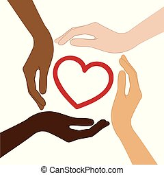 heart in the middle of human hands with different skin colors