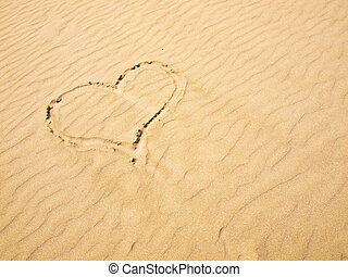 Heart in the Sand on a Sunny Day