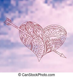 heart in the sky - Hand drawn decorated heart with arrow on...