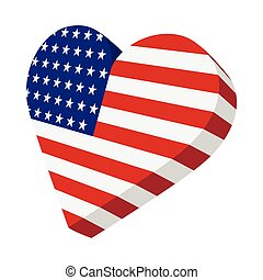 Heart in the USA flag colors cartoon icon