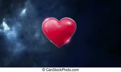 Heart in thunderstorm
