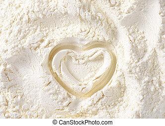 Heart in wheat flour