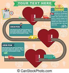 Heart infographics, vector format