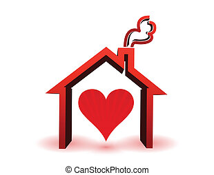 heart inside in house illustration isolated over white
