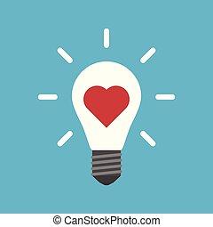 Heart inside light bulb