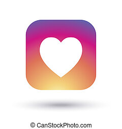 heart instagram icon on colorful sunset background - heart ...