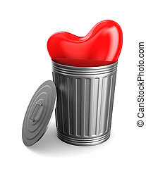 heart into garbage basket on white background. Isolated 3D illustration