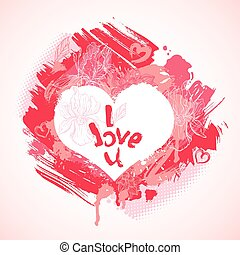 Heart is made of brush strokes and blots and handwritten text I