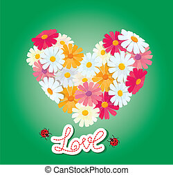Heart is made of daisies