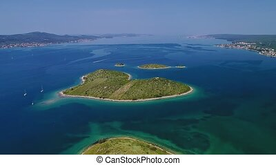 Heart island aerial - Aerial view of the Galesnjak island...