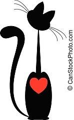 heart., isolado, gato, pretas, vector., vermelho