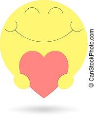 heart., isolado, ilustração, experiência., vetorial, sorrizo, branco vermelho, ícone