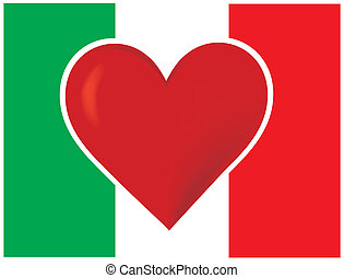 Heart Italy Flag - An image of the Italian flag, with a big...