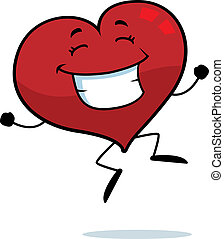 Heart Jumping - A happy cartoon heart jumping and smiling.